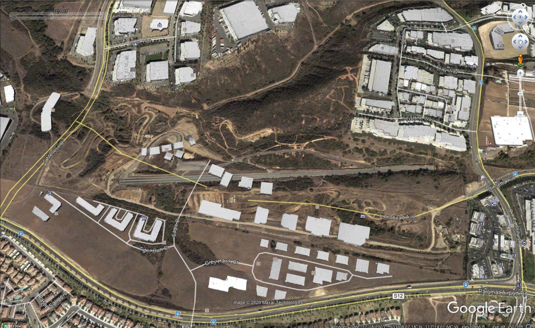 Carlsbad Raceway Google Earth with buildings 12-2003.JPG
