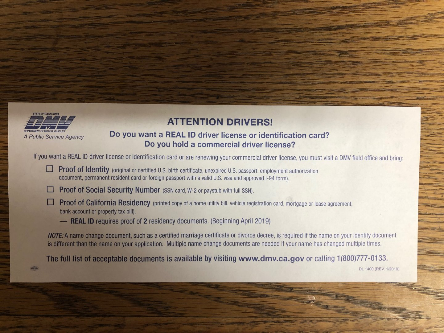 CA Real ID Issues   River Daves Place